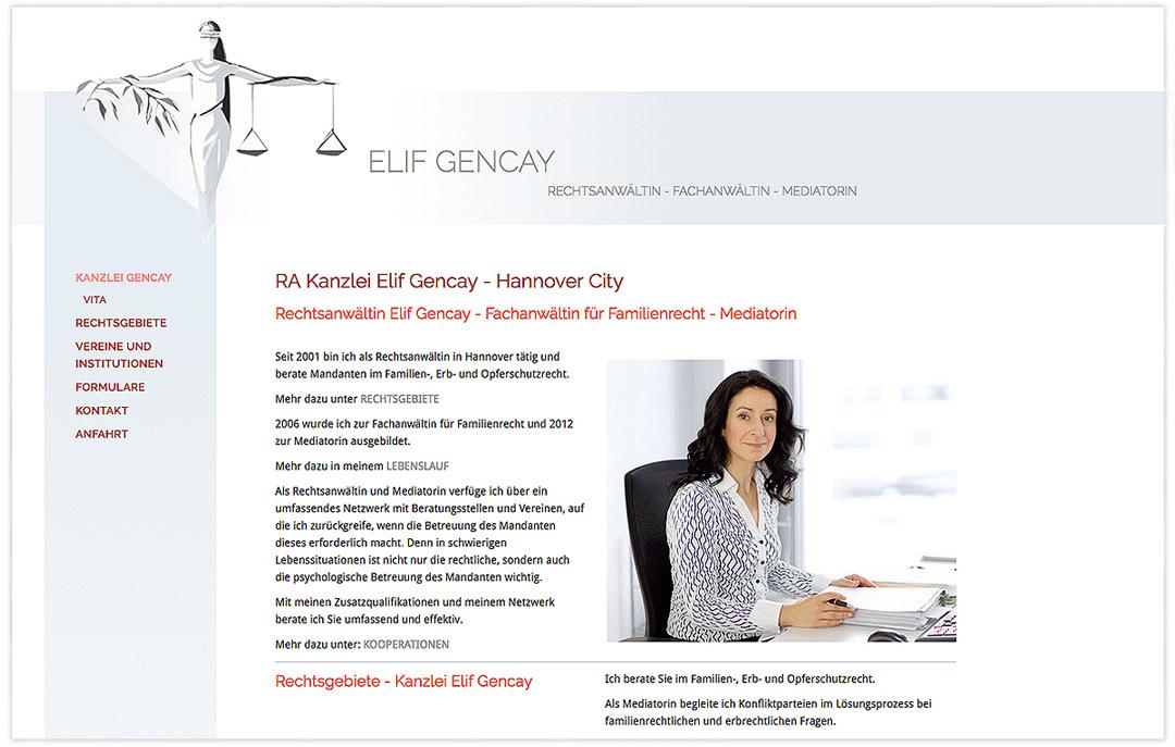 Website RA Elif Gencay - Startsite - Design: Artwork3