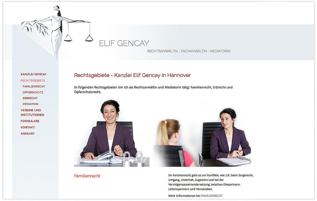 Website RA Elif Gencay - Rechtsgebiete - Design: Artwork3