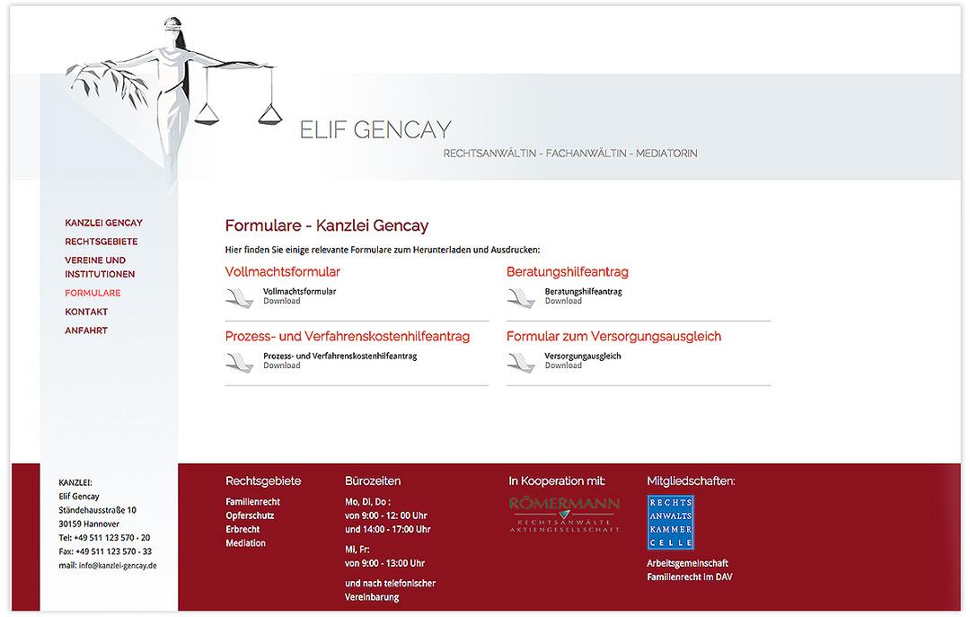 Website RA Elif Gencay - Formulare - Design: Artwork3