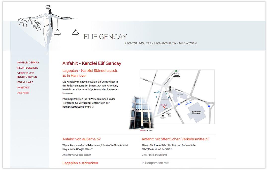 Website RA Elif Gencay - Anfahrt - Design: Artwork3