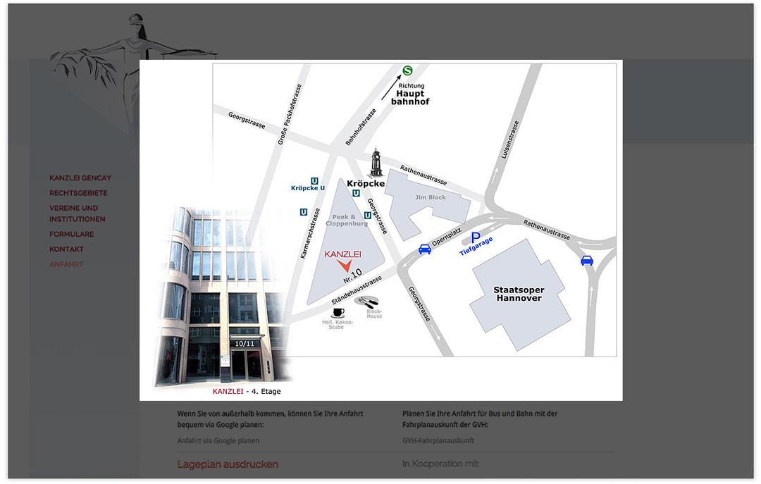 Website RA Elif Gencay - Anfahrtskizze - Design: Artwork3
