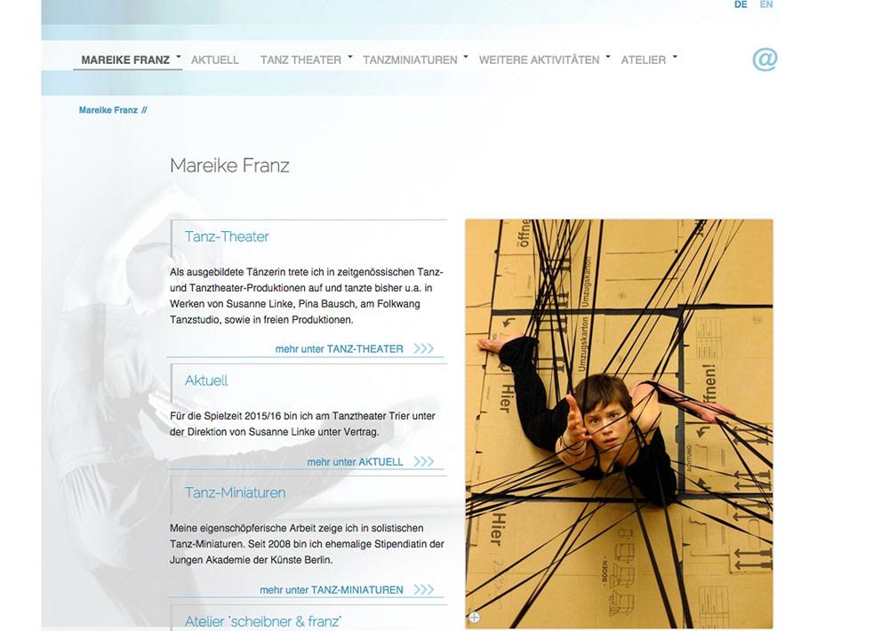 Website Tänzerin Mareike Franz, Startsite, Übersicht; Design: Artwork3