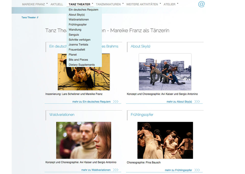 Website Tänzerin Mareike Franz, Tanztheater, Unternavigation, seiteninterne Links; Design: Artwork3