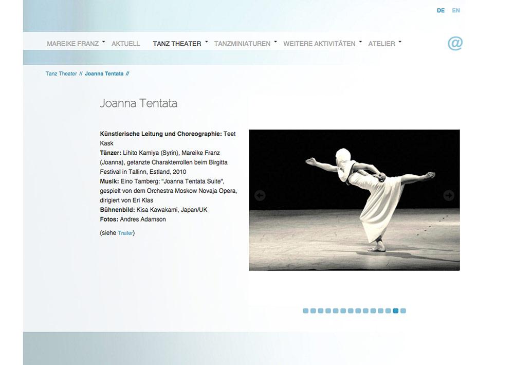 Website Tänzerin Mareike Franz, Tanztheater, Unterseite, Slider; Design: Artwork3