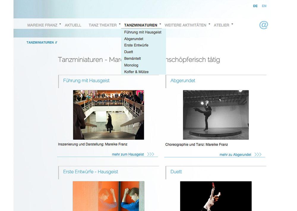 Website Tänzerin Mareike Franz, Tanzminiaturen, Unternavigation, seiteninterne Links; Design: Artwork3