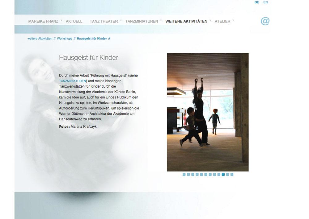 Website Tänzerin Mareike Franz, Aktivitäten, Slider, Hintergrundfoto; Design: Artwork3