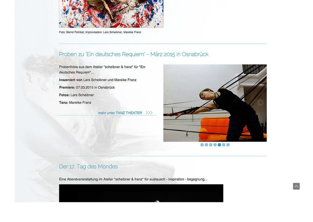 Website Tänzerin Mareike Franz, Atelier, Hintergrundfoto; Design: Artwork3