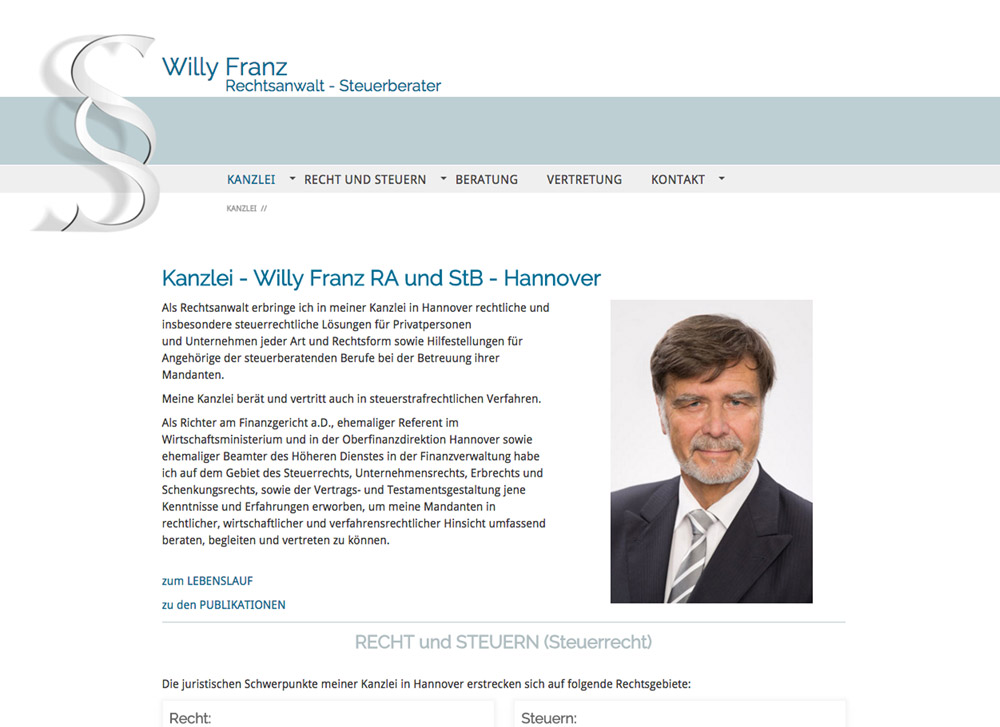 Website RA und StB Willy Franz, Startsite - Artwork3