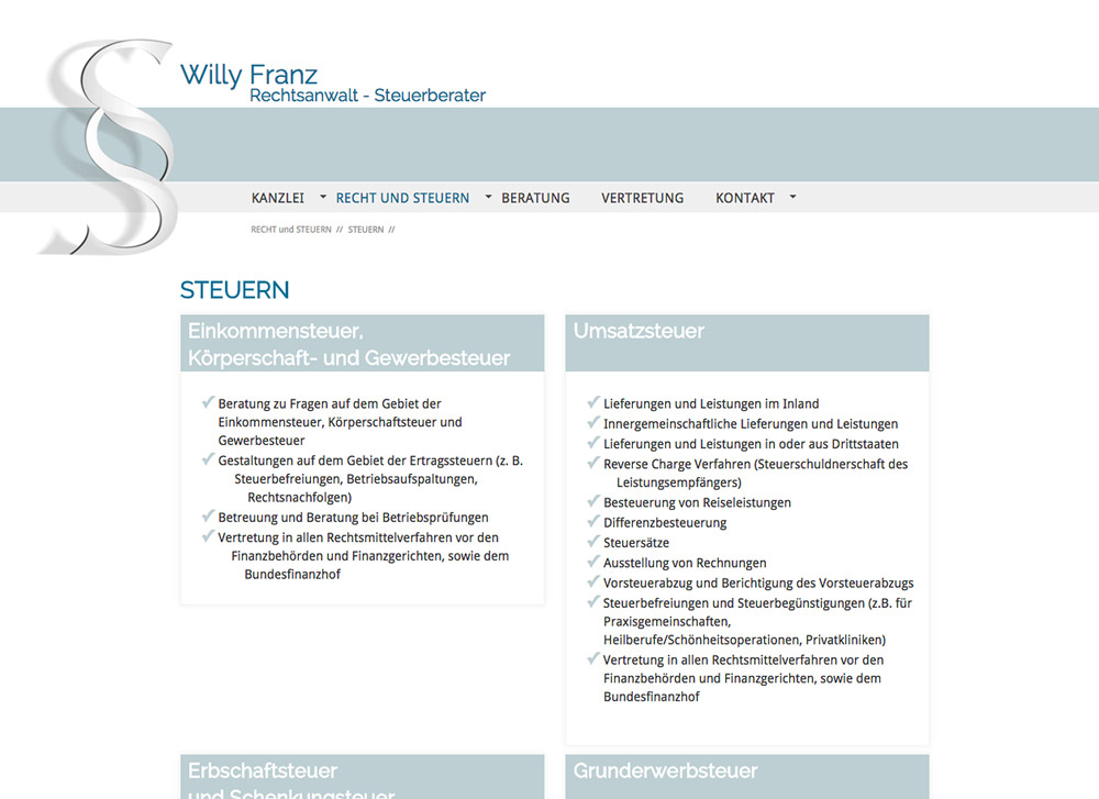 Website RA und StB Willy Franz, Steuern - Artwork3