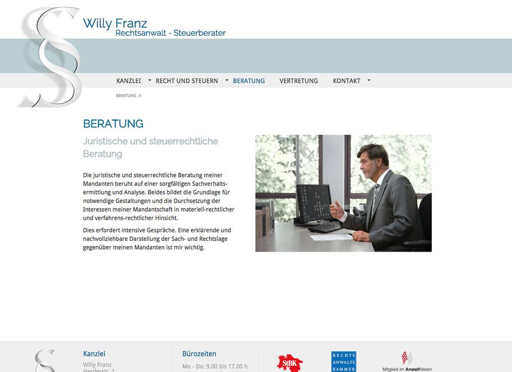 Website RA und StB Willy Franz, Beratung - Artwork3