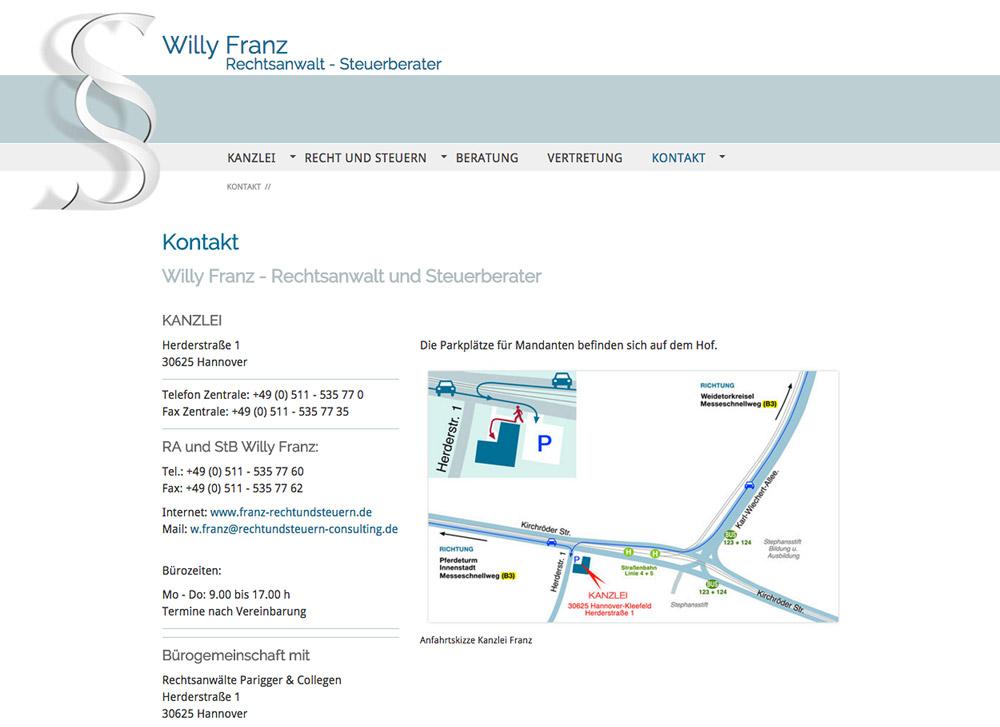 Website RA und StB Willy Franz, Kontakt mit grafisch gestalteter Anfahrtskizze - Artwork3